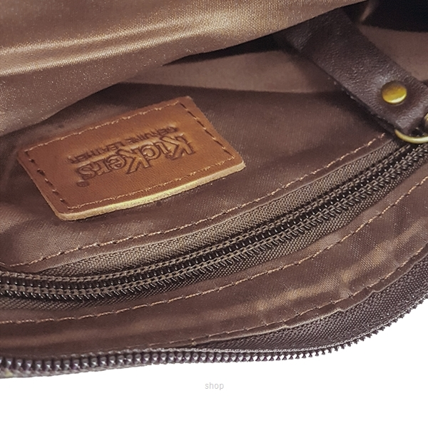 Kickers Genuine Leather Zip Top Clutch Bag with Mobile Phone Pocket (Brown) - KK13-IC78508CL-4