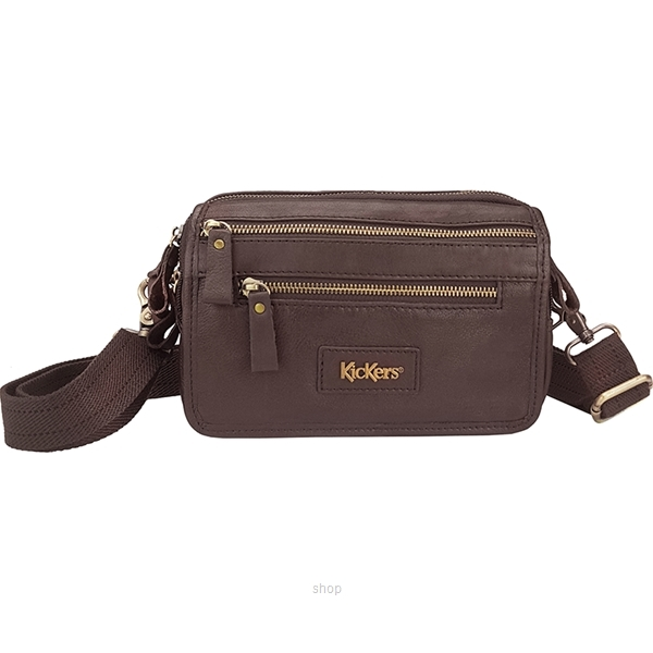 Kickers Dual Function Genuine Leather Crossbody Sling Bag (Brown) - KK02-IC78501CL-0