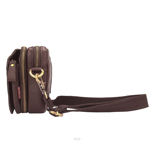 Kickers Dual Function Genuine Leather Crossbody Sling Bag (Brown) - KK02-IC78501CL-2