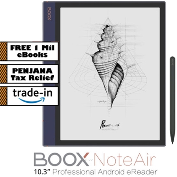 "BOOX Note Air 10.3"" Android 10 eReader (32GB) Black + PU Leather Case-0"