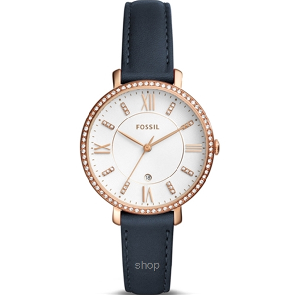 Fossil ES4291 Women Jacqueline Three-Hand Date Navy Leather Watch-0