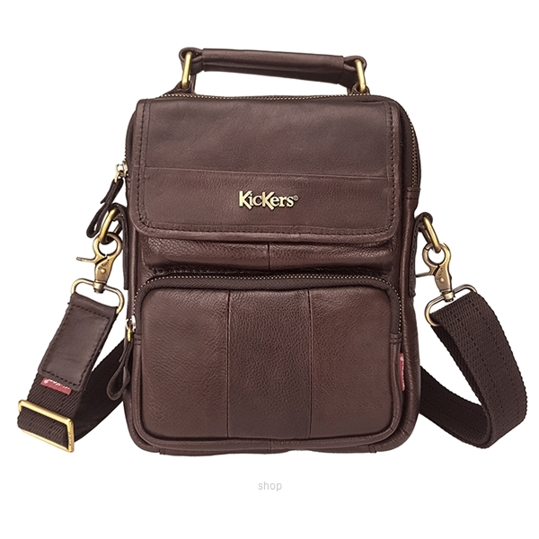Kickers Genuine Leather Crossbody Sling Bag with Hand Carry Handle (Brown) - KK03-IC78504S-0