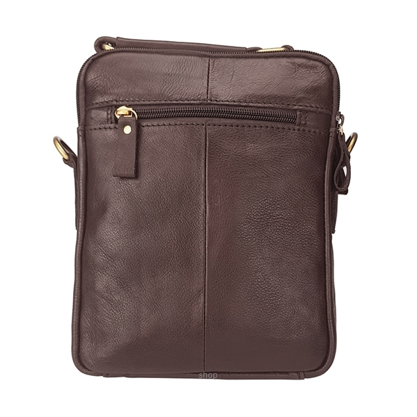 Kickers Genuine Leather Crossbody Sling Bag with Hand Carry Handle (Brown) - KK03-IC78504S-1