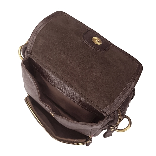 Kickers Genuine Leather Crossbody Sling Bag with Hand Carry Handle (Brown) - KK03-IC78504S-3