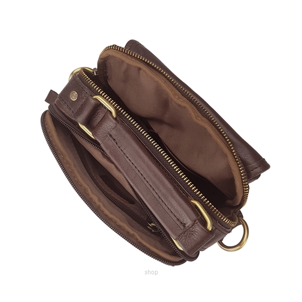 Kickers Genuine Leather Crossbody Sling Bag with Hand Carry Handle (Brown) - KK03-IC78504S-4