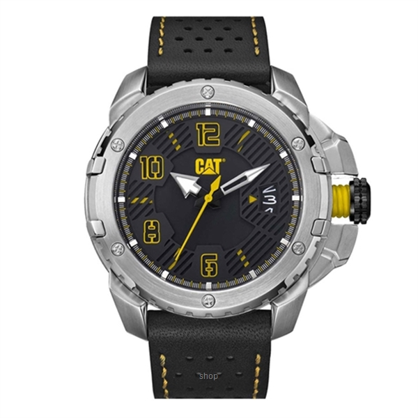 Caterpillar Construct Black Leather Strap - DW14134131-0