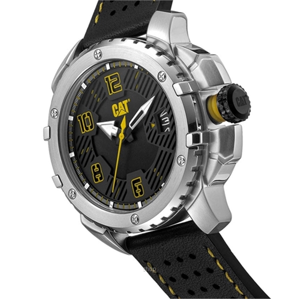 Caterpillar Construct Black Leather Strap - DW14134131-2