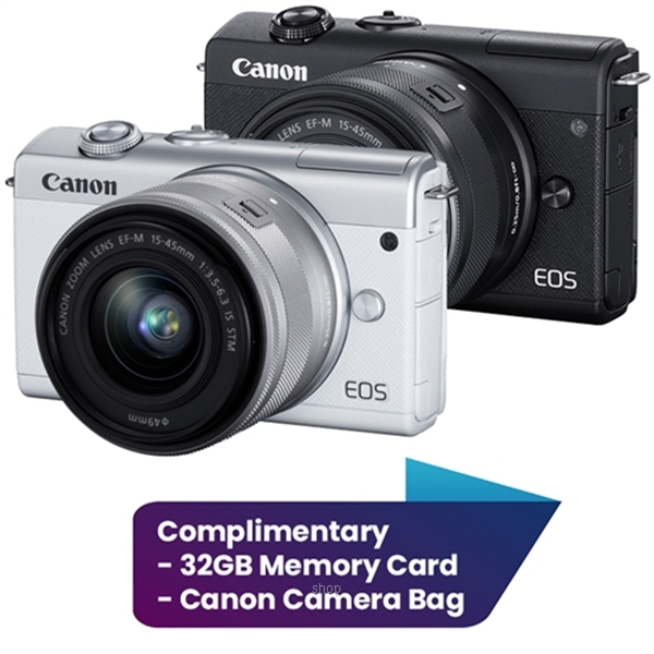 Canon EOS M200 Mirrorless Digital Camera with 15-45mm Lens Complimentary 32GB Memory Card + Canon Camera Bag (Canon Warranty)-0