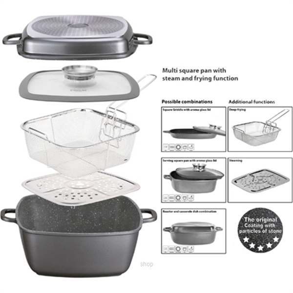 Stoneline Multi-Purpose Square Pan 28 x 28 cm with Steaming and Deep-Frying - STR20337-0