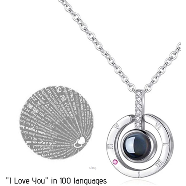 "Celovis Fayre ""I Love You"" in 100 Languages Projection Necklace Pendant (Silver) - CNE-FAYRE-SV-0"