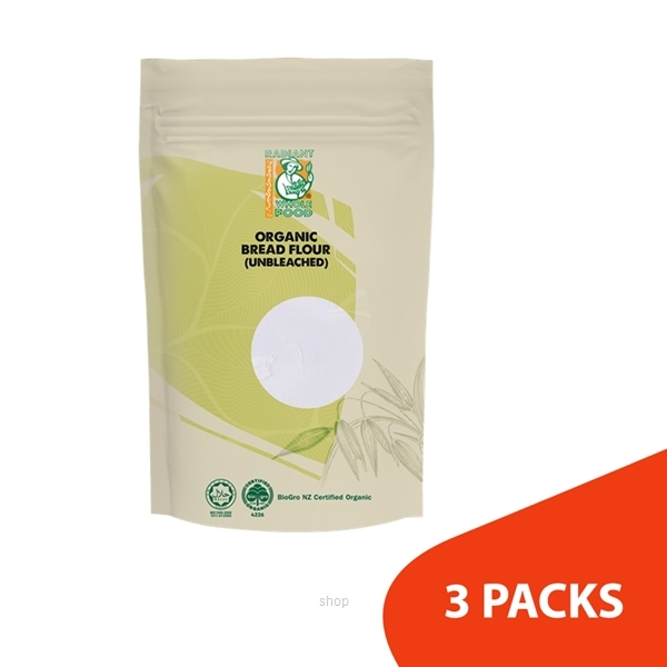 Radiant Organic Unbleached Bread Flour 1kg (3packs)-0