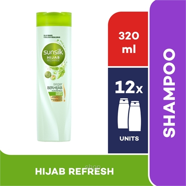 [12 unit] Sunsilk Shampoo Hijab Recharge Hijab Refresh 320ml - 67632848-0