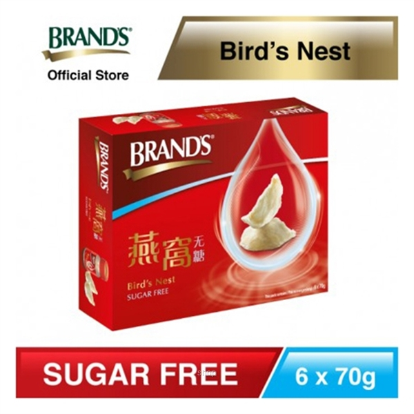[2 Packs] BRAND'S® Bird's Nest Sugar Free 6's x 70g-0
