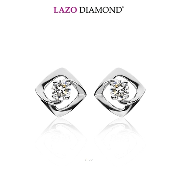 Lazo Diamond 9K White Gold Diamond Earrings - DE5644-0