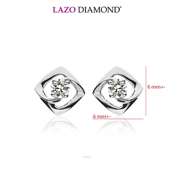 Lazo Diamond 9K White Gold Diamond Earrings - DE5644-2