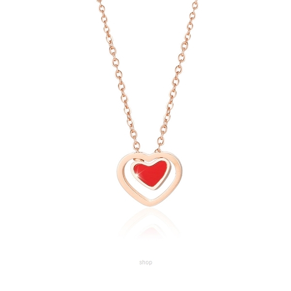 Celovis Heartthrob Love Pendant in Red with Diamond on Rose Gold Chain Necklace-0