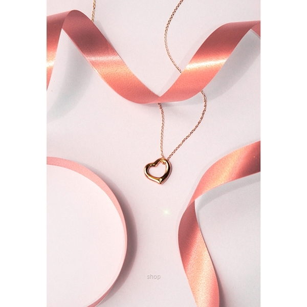 Celovis CNY 2021 - Darling Heart Frame Pendant with Diamond on Rose Gold Chain Necklace-1