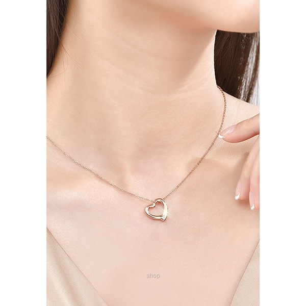 Celovis CNY 2021 - Darling Heart Frame Pendant with Diamond on Rose Gold Chain Necklace-3