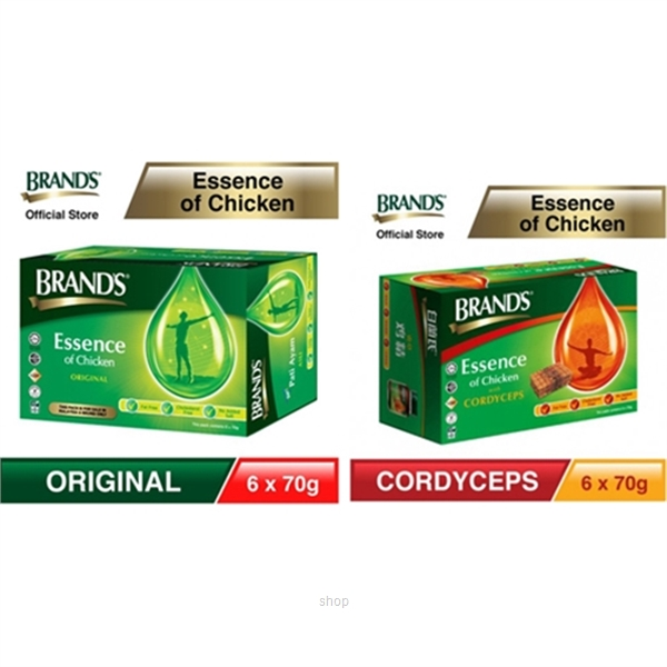[1 Pack] BRAND'S® Essence of Chicken 6's x 70g + [1 Pack] BRAND'S® Essence of Chicken with Cordyceps 6's x 70g-0