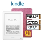 Kindle (10th Gen) 8GB - White- Includes Special Offers + Screen Protector + Stylish OEM Red Case  + Free 1 Million Kindle eBooks (6 mths)