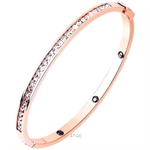 Celovis Arya Single Row Zirconia Insets with Closed Hinged Bangle in Rose Gold