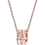 Celovis Eloise Zirconia Twin Rings Pendant Necklace (Rose Gold)