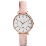 Fossil ES4303 Women Jacqueline Three-Hand Date Blush Leather Watch