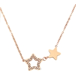 Celovis Titania Dua-Star with Dias 18K Rose Gold Necklace - CNE-TITANIA-RG