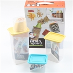 Easy & Free Grain Guard-1 (1250ml Container with Measurement Cup + 920ml Container + 400ml Container) Container Set (Assorted Color)