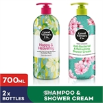 [Bundle of 2] GVC Healthy Hair and Scalp Shampoo for All Hair Types + Anti-Bacterial & Refreshing Shower Cream (700ml)