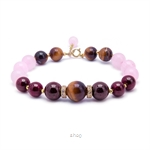 Kelvin Gems Olivia Rose Quartz and Tiger Eyes Bracelet -Rose/Brown