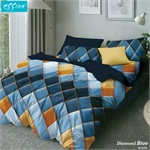 Essina Diamond Blue Comforter & Fitted Bed Sheet Set Cadar Microfiber Set (33cm High Mattress)