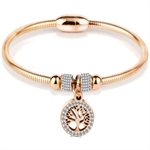 Celovis Eden Zirconia Family Tree with Magnetic Clasp Bangle (Rose Gold) - CBA-EDEN-RG