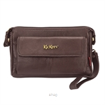 Kickers Genuine Leather Zip Top Clutch Bag with Mobile Phone Pocket (Brown) - KK13-IC78508CL