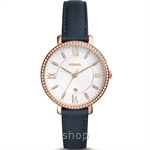 Fossil ES4291 Women Jacqueline Three-Hand Date Navy Leather Watch