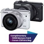 Canon EOS M200 Mirrorless Digital Camera with 15-45mm Lens Complimentary 32GB Memory Card + Canon Camera Bag (Canon Warranty)