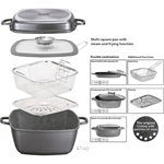 Stoneline Multi-Purpose Square Pan 28 x 28 cm with Steaming and Deep-Frying - STR20337