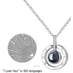 "Celovis Fayre ""I Love You"" in 100 Languages Projection Necklace Pendant (Silver) - CNE-FAYRE-SV"