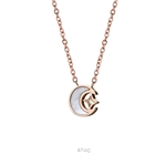 Celovis Premium Stellaluna Star and Crescent Moon Pendant with Diamond on Rose Gold Chain Necklace