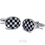 Kelvin Gems Oval Checker Cufflink 925 Sterling Silver
