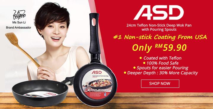 ASD 24cm Teflon Non-Stick Deep Wok Pan with Pouring Spouts
